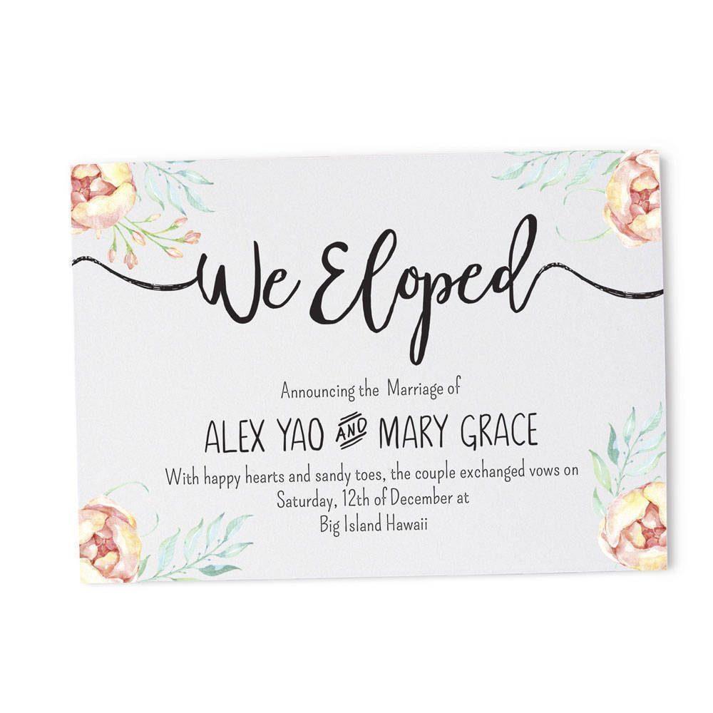 Floral We Eloped Cards, Elopement Announcement Cards elopement3