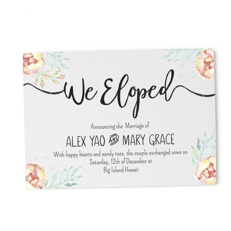 Floral We Eloped Cards, Elopement Announcement Cards elopement3