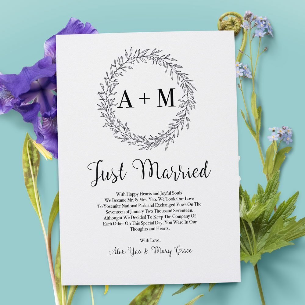 Simple Just Married Elopement Cards with Initials and Rustic Wreath elopement33