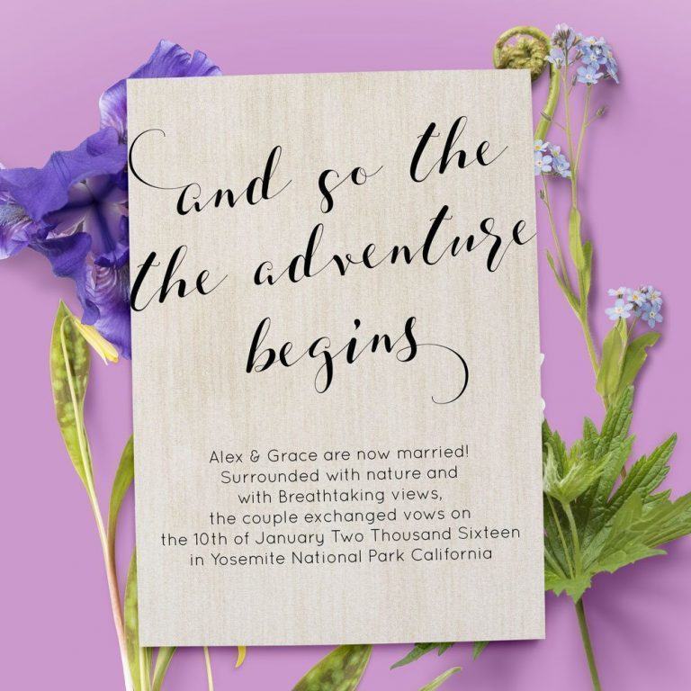Rustic And So The Adventure Begin Elopement Announcement Cards elopement34