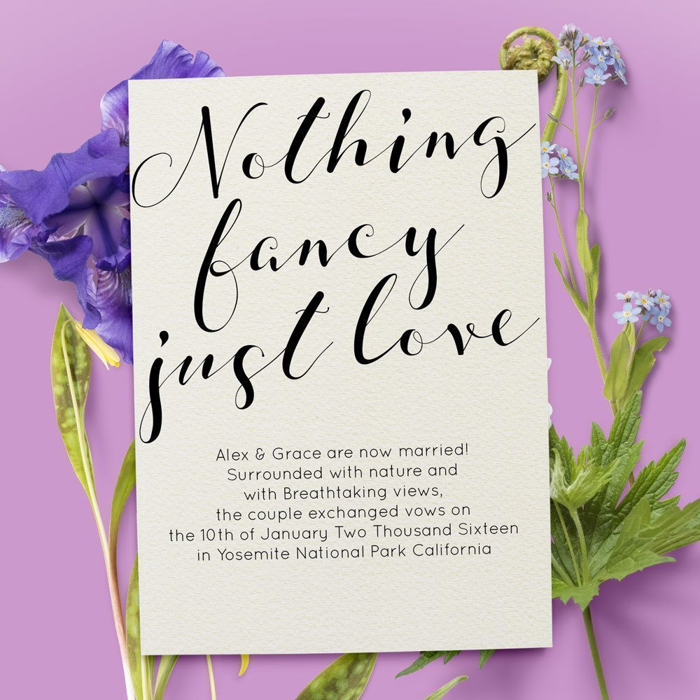 Nothing Fancy Just Love Elopement Announcement Cards, Simple and Elegant elopement35