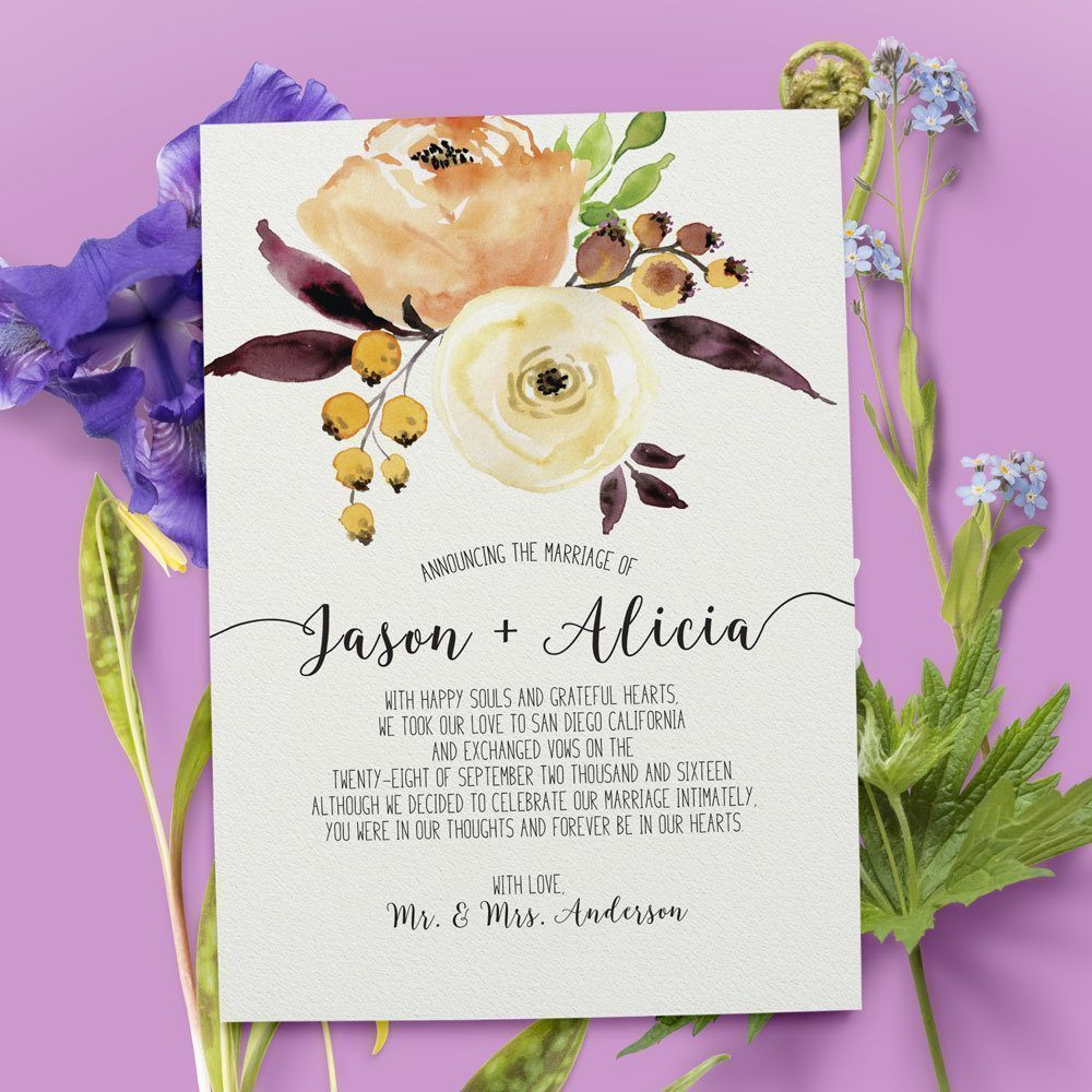 Floral Elopement Announcement Cards, Wedding Annoucement Cards elopement39