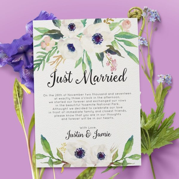 Just Married Elopement Cards, Elegant Floral Elopement Announcements, Elopement Announcement Cards elopement45
