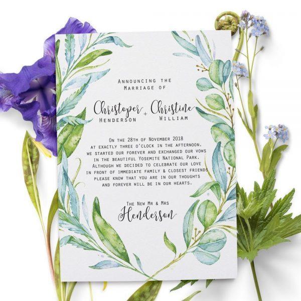 Elopement Announcement Cards, Green, Leaves Eloped Cards elopement48