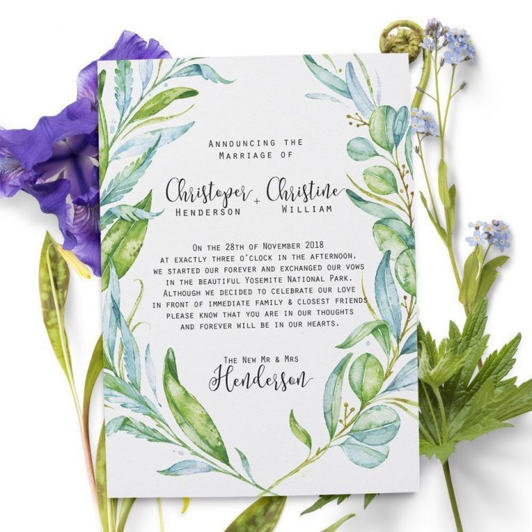 Elopement Announcement Cards, Green, Leaves Eloped Cards elopement48