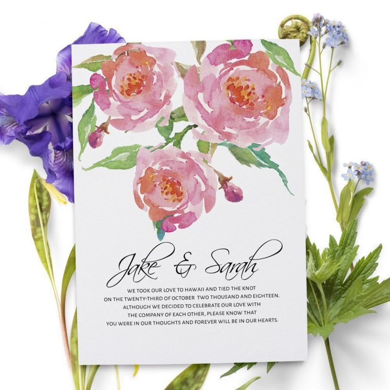 Elopement Cards, Pink Flowers Wedding Eloped Announcement Cards elopement50
