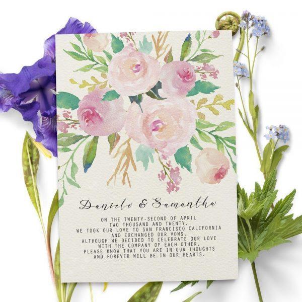 Elegant Floral Elopement Announcement Cards, Personalized Eloped Cards elopement52