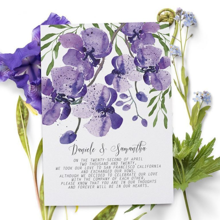 Elopement Announcement Cards, Violet Orchids Eloped Cards elopement53