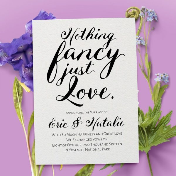 Nothing Fancy Just Love, Simple and Classic Elopement Cards elopement7-1