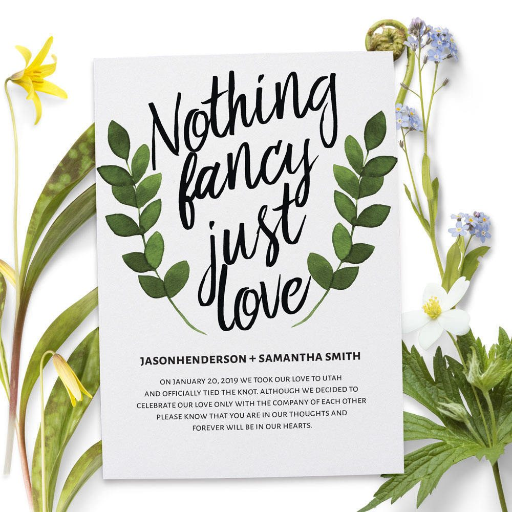 Nothing Fancy Just Love Elopement Cards, Elegant Floral Elopement Announcements, Elopement Announcement Cards elopement70