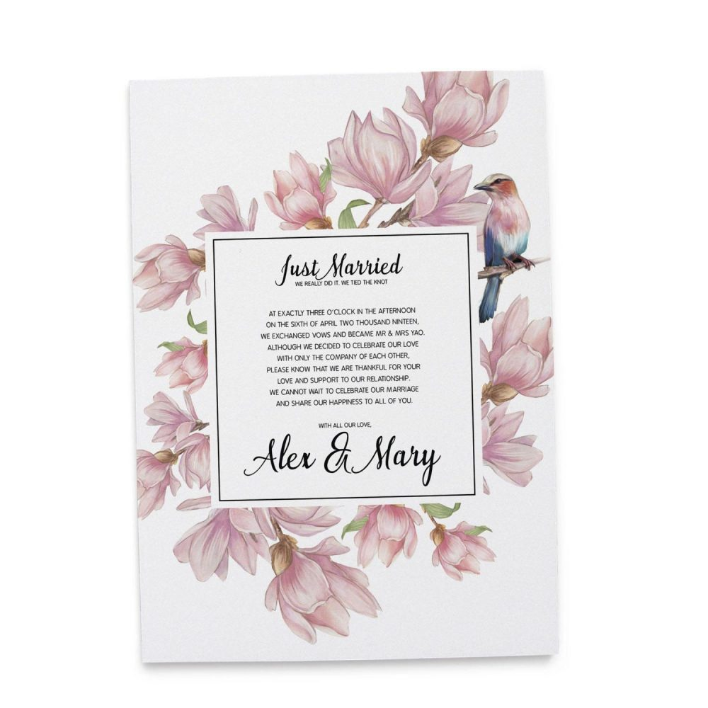 Just Married Elopement Announcement Cards, Pink Flowers and Bird Elopement Announcement Cards elopement83