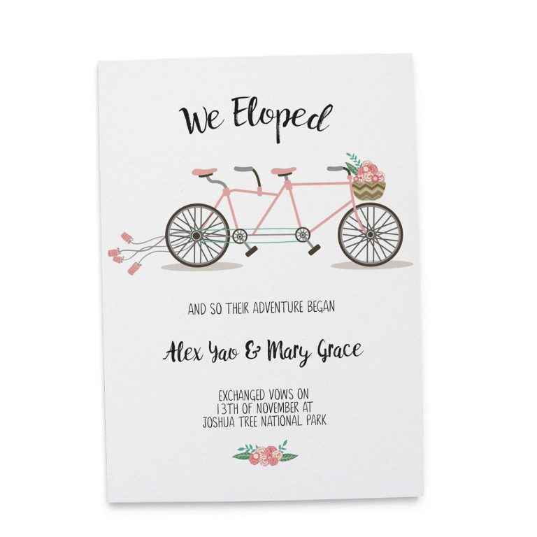 And so the adventure began, Bicycle Elopement Announcement Cards elopement85