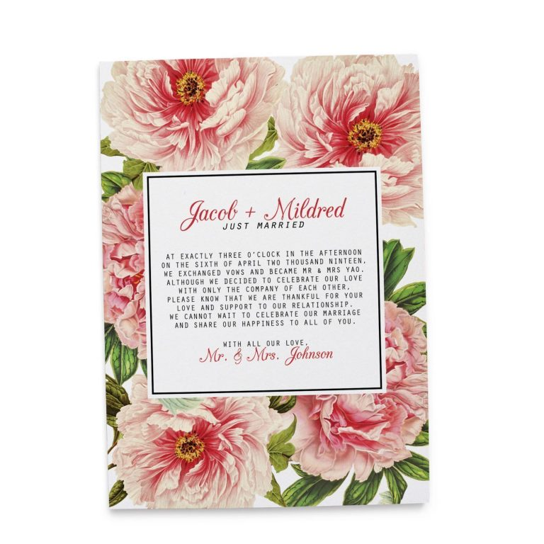 Vintage Floral Elopement Announcement Cards, Just Married Elopement Cards elopement86