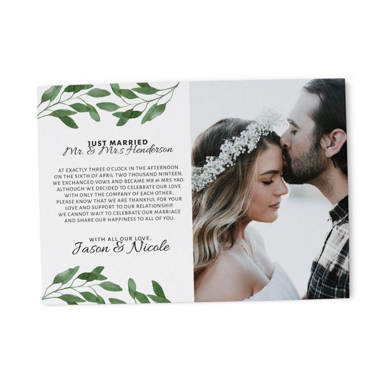 """Just Married"" Cards, Green Leaves Elopement Announcements, Elopement Announcement Cards Add Your Own Photo elopement90"