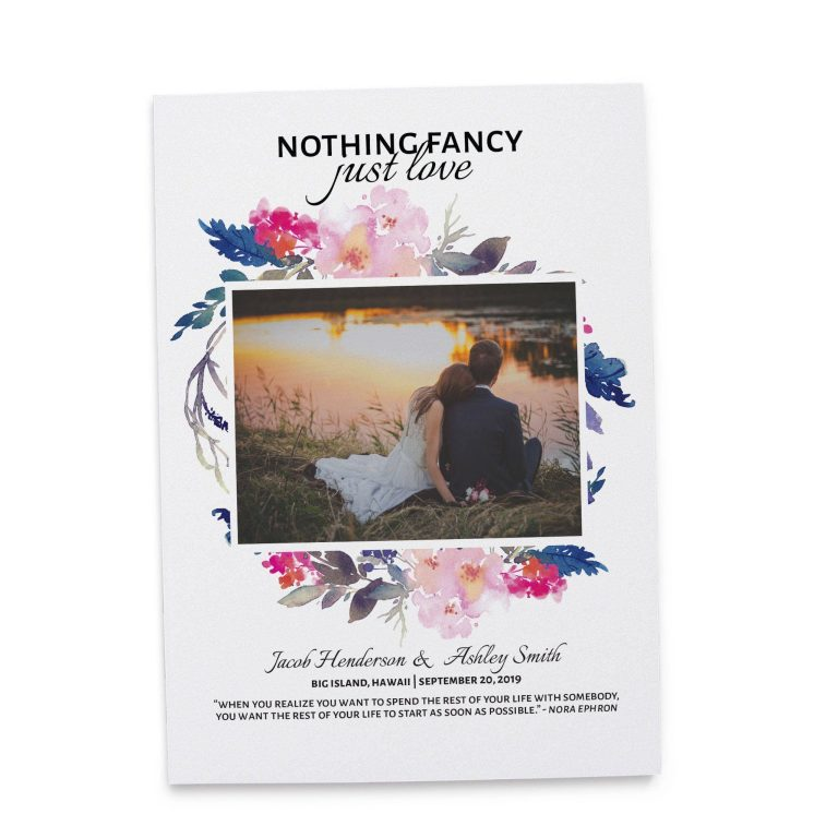 Nothing Fancy Just Love, We Eloped Elopement Cards, Add Your Own Photo Cards elopement99