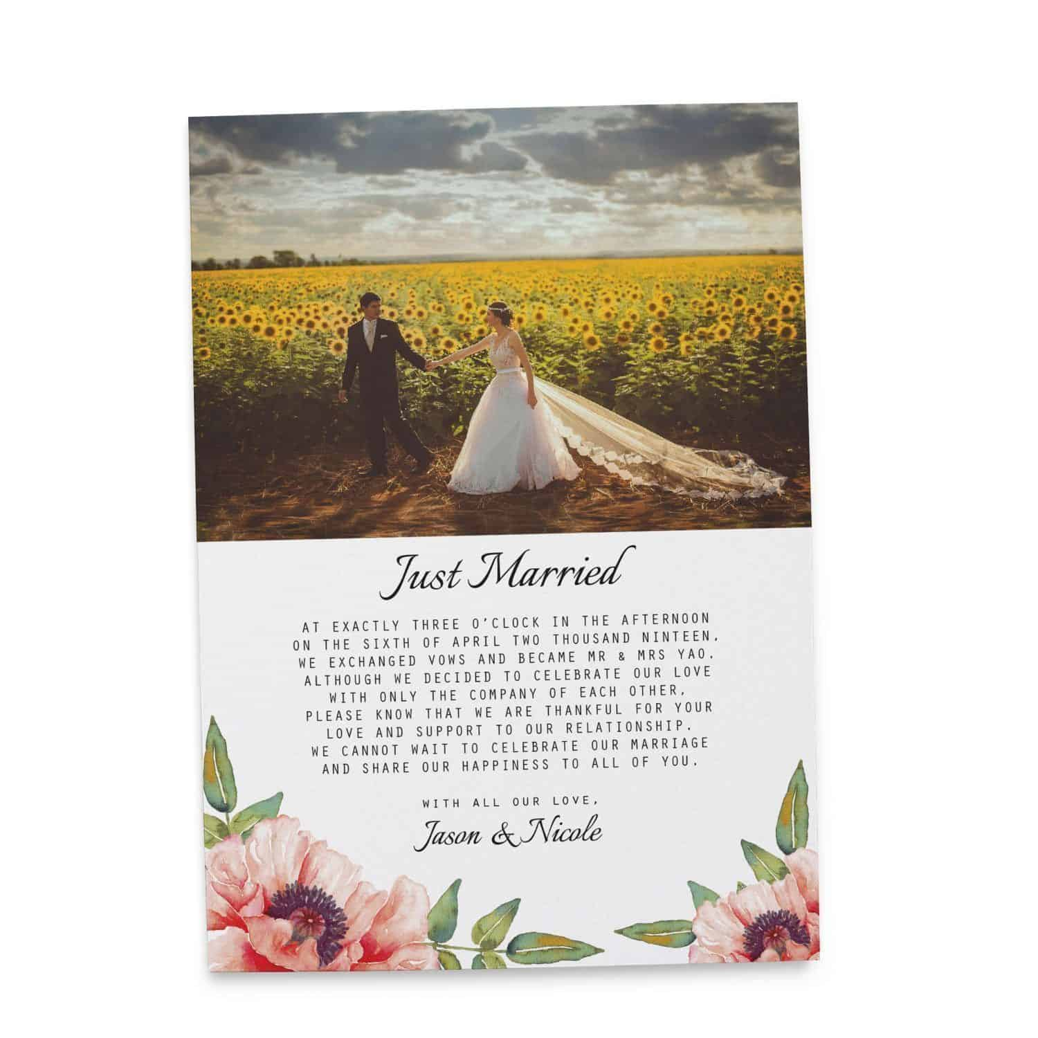 Just married elopemen announcement cards floral eloped cards add just married elopemen announcement cards floral eloped cards add your own picture loveateverysight monicamarmolfo Image collections