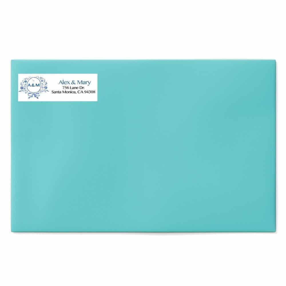Blue Monogram Wedding Return Address Labels