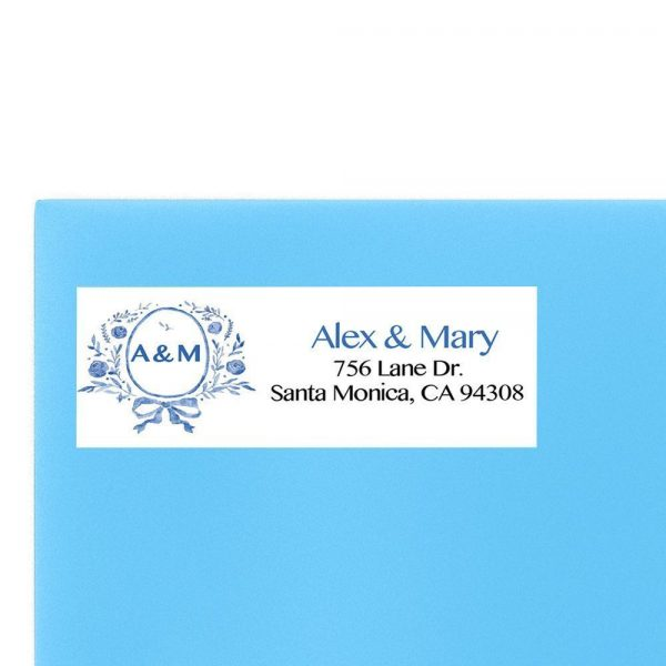 Blue Monogram Wedding Return Address Labels