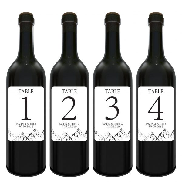 Wedding Wine Labels.Wedding Wine Table Number Label Stickers Mountain By Loveateverysight Seating Chart Personalized Custom Label 3 75 X4 75 Set Of 4