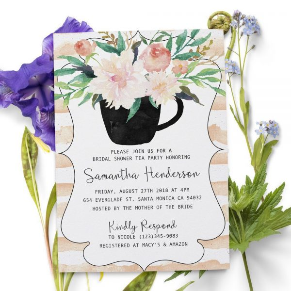 Rustic Bridal Shower Invitation, Bridal Shower Cards, Bridal Shower Printable, Rustic and Bohemian Bridal Shower,Tea Party,Garden Party