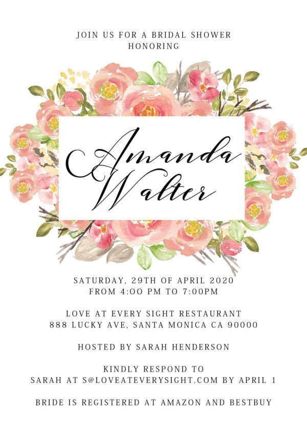 Bridal Shower, Bachelorette Party Cards, Invitation & Invites - Floral Theme Design