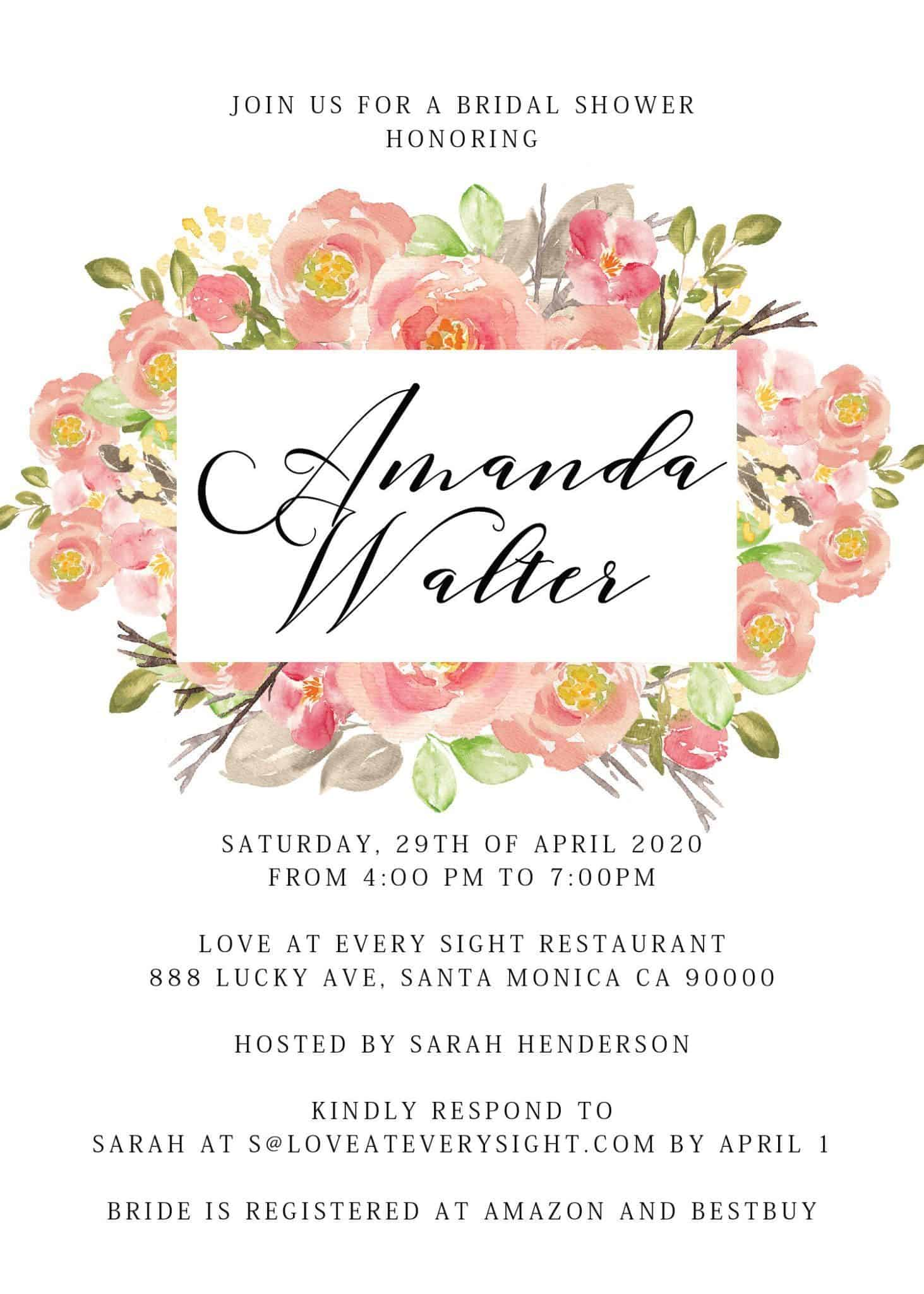 Bridal Shower, Bachelorette Party Cards, Invitation & Invites - Floral Theme Design