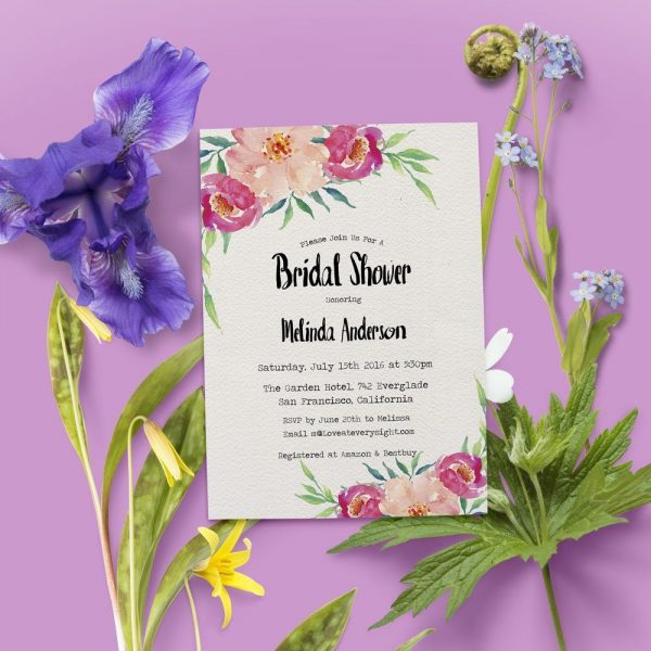 Floral Bridal Shower Invitations, Bridal Shower Cards, Bridal Shower Printable, Rustic and Bohemian Bridal Shower