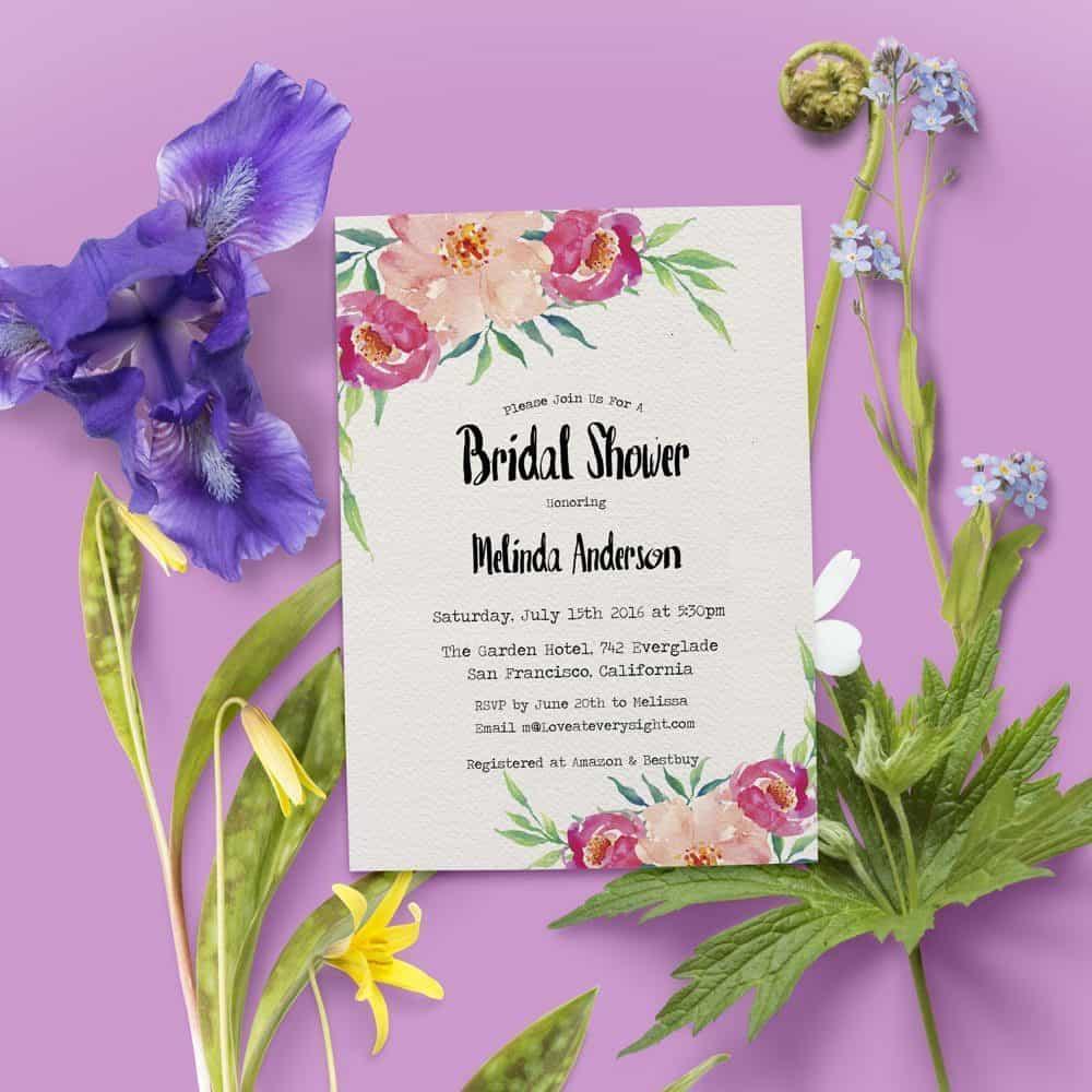 Floral Bridal Shower Invitations, Bridal Shower Cards, Bridal Shower Printable, Rustic and Bohemian Bridal Shower