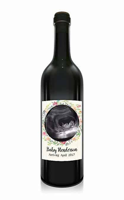 """Baby Arriving"" Wine Bottle Label Stickers"