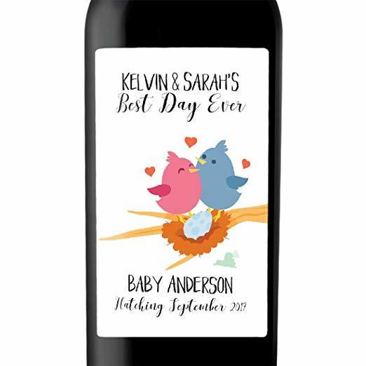 """Baby Hatching"" Wine Bottle Label Stickers Pregnancy Announcement, Baby Announcement Wine  bwinelabel19"