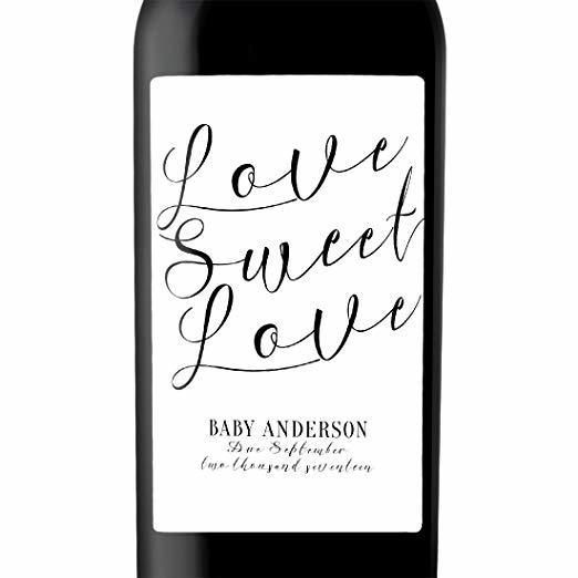 """Love Sweet Love"" Wine Bottle Label Stickers Pregnancy Announcement, Baby Announcement Wine bwinelabel16"