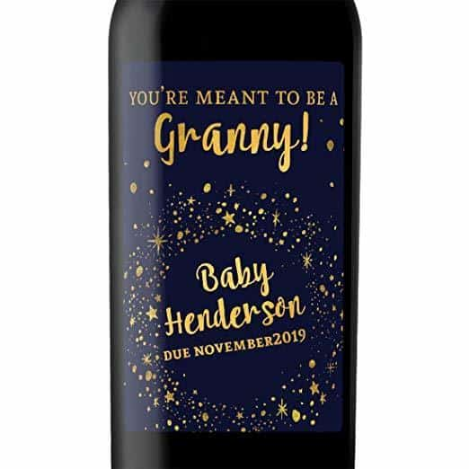 """Meant to be a Granny!"" Wine Bottle Label Stickers Pregnancy Announcement, Baby Announcement Wine  -   bwinelabel57"