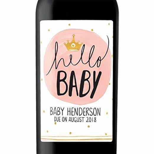 """Hello Baby Princess"" Wine Bottle Label Stickers"