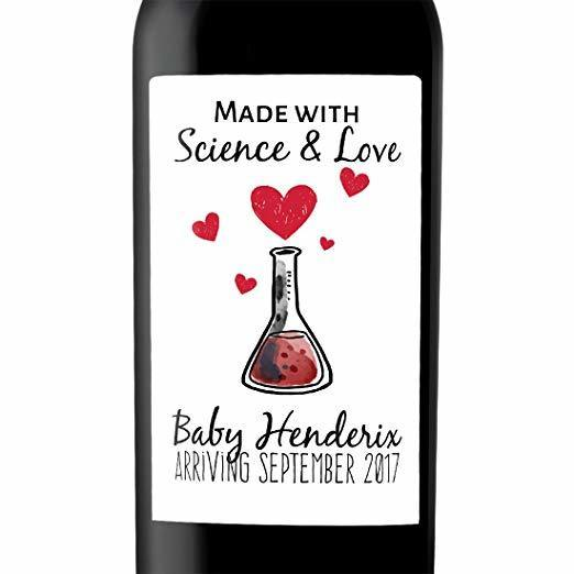 """Science and Love"" Wine Bottle Label Stickers Pregnancy Announcement, Baby Announcement Wine bwinelabel14"