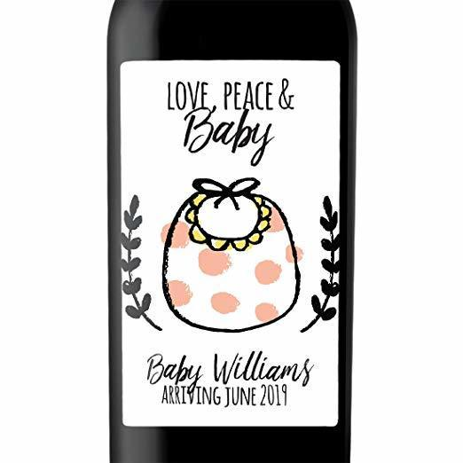 """Love, Peace and Baby"" Wine Bottle Label Stickers Pregnancy Announcement, Baby Announcement Wine  -   bwinelabel53"