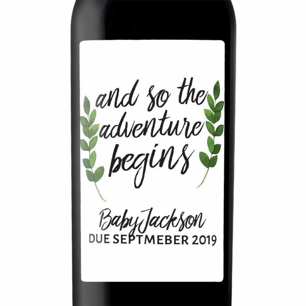 """Baby Party"" Wine Bottle Label Stickers Pregnancy Announcement, Baby Announcement Wine  -   bwinelabel60"