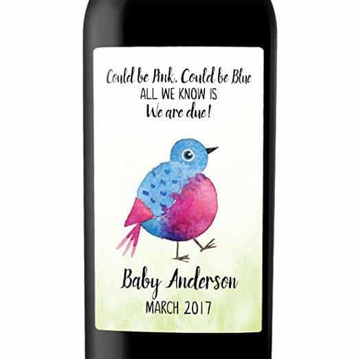 """We are Due!"" Wine Bottle Label Stickers"