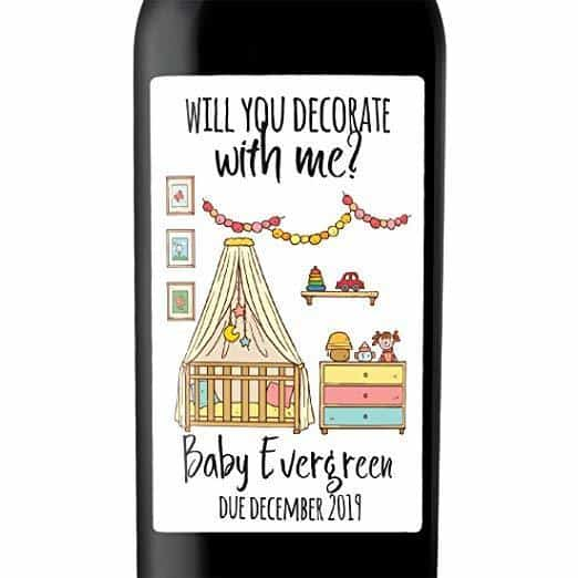 """Decorate with Me"" Wine Bottle Label Stickers Pregnancy Announcement, Baby Announcement Wine  -   bwinelabel54"