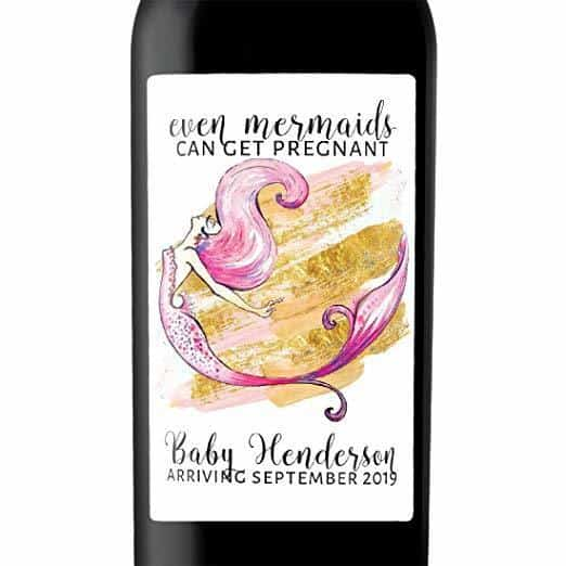"""Even Mermaids"" Wine Bottle Label Stickers  Pregnancy Announcement, Baby Announcement Wine  -   bwinelabel50"
