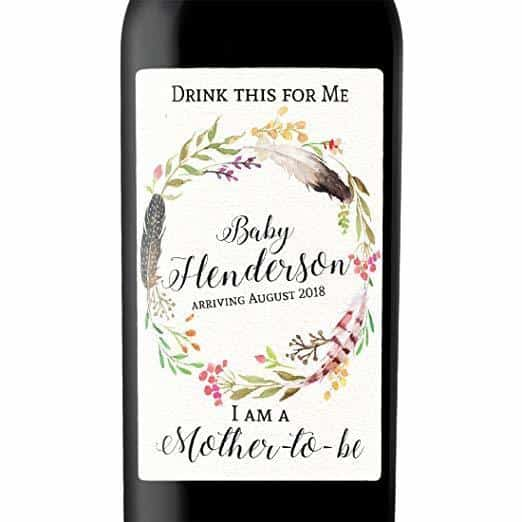 """Mother-To-Be"" Wine Bottle Label Stickers"
