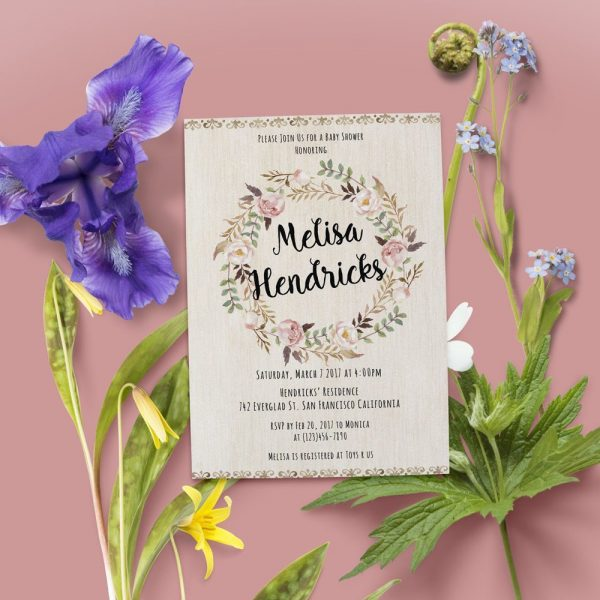 Rustic Floral Wreath - Baby Shower Party Invitation Cards