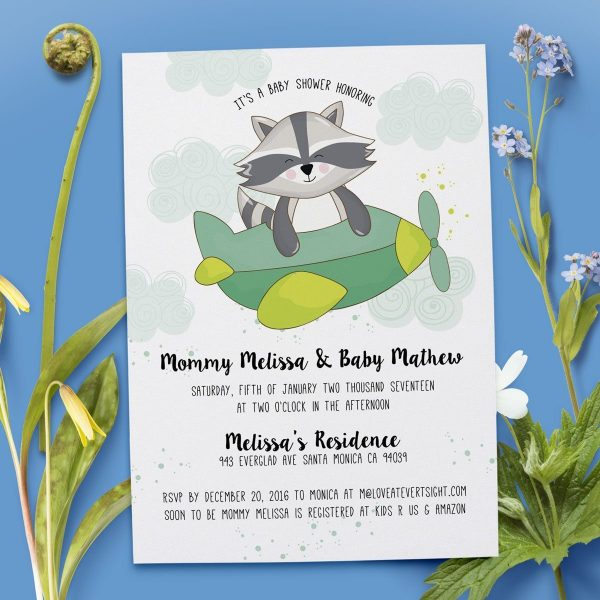 Baby Raccoon Pilot - Baby Shower Party Invitation Cards