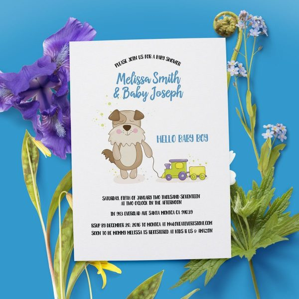 """""""Hello Baby Boy"""" Baby Shower Party Invitation Cards"""
