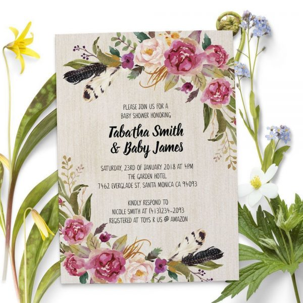 Vintage Floral - Baby Shower Party Invitation Cards