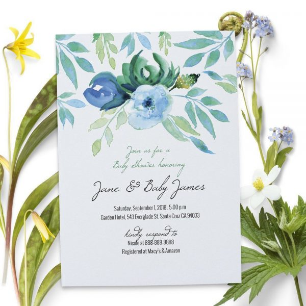 Blue Flower - Baby Shower Party Invitation Cards