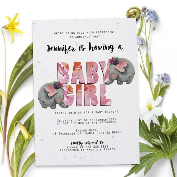 Safari Elephant - Baby Shower Party Invitation Cards