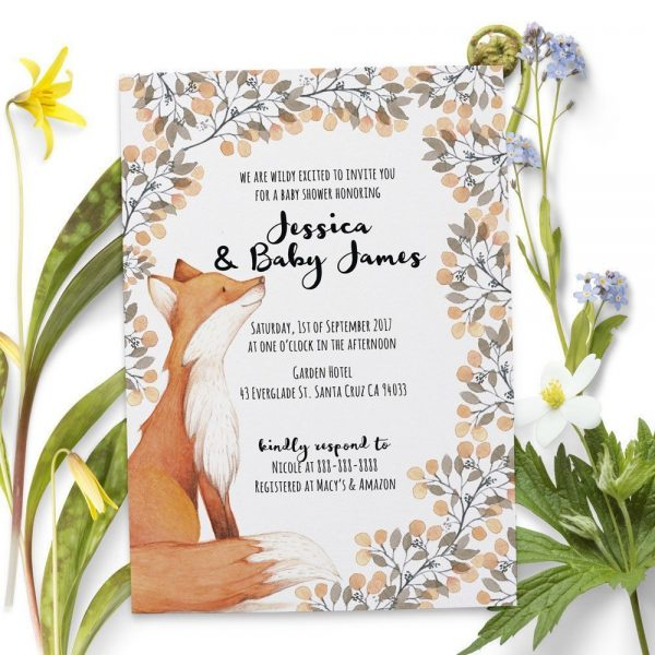Woodland Fox - Baby Shower Party Invitation Cards