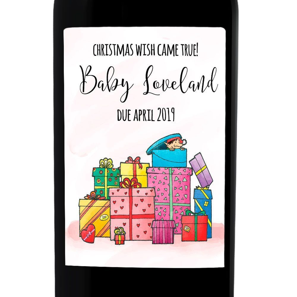 Christmas Wish Came True Baby Pregnancy Announcement Wine Labels, Personalized, Customizable, Holiday Pregnancy bwinelabel87
