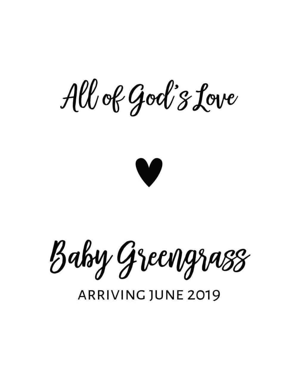 """Upcoming Motherhood & Baby Announcement Wine Label Stickers, """"All of God's Love"""", Future Mommy and Baby Celebration bwinelabel98"""