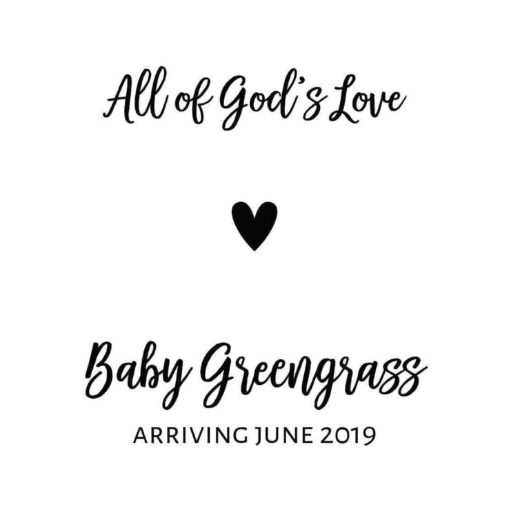 "Upcoming Motherhood & Baby Announcement Wine Label Stickers, ""All of God's Love"", Future Mommy and Baby Celebration bwinelabel98"